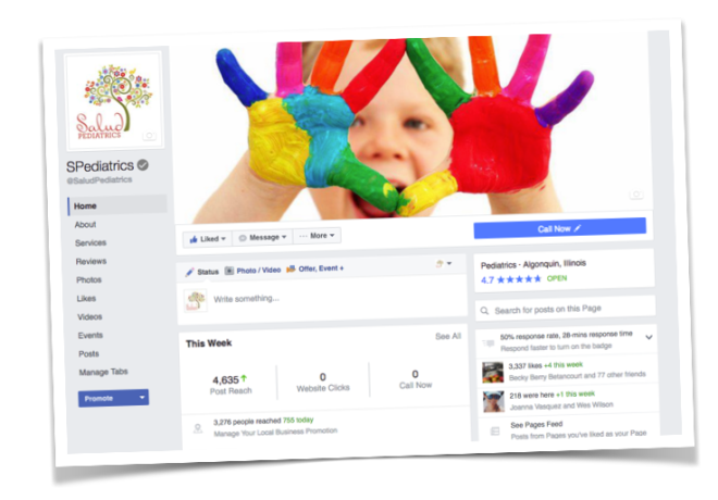 Salud Pediatrics Facebook Page Screen Shot